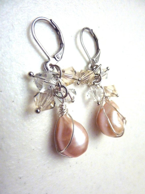 Pink Freshwater Pearls Wire Wrapped Cluster Earrings With Swarovski Crystals