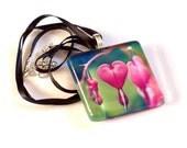 Heart Necklace - Flower Photo Pendant - Bleeding Hearts Necklace