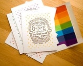Hand-Stamped Rainbow Birthday Invitations