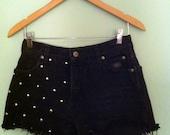 High-Waisted Studded Shorts