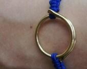 Electric Blue Macrame Bracelet With Golden Metallic Detail