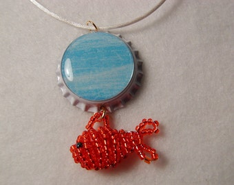 Goldfish Bottle Cap Necklace