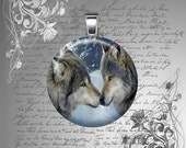 GLASS tile pendant charm WOLF MATES  fantasy love mens womens teen necklace 25mm domed