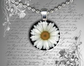 GLASS tile necklace pendant summer Daisy black and white flowers 20mm