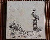"Seascape Trivet/Hand-stamped Sand Dune & Pelican Design On 6x6"" Travertine Tile"