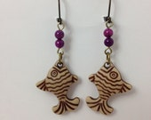 Tropical Fish  Earrings with Purple Magnesite Accent Beads - lastsummertreasures