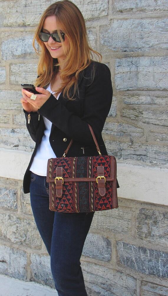 Vintage, Hand-woven, Turkish, Kilim & Leather Hand Bag