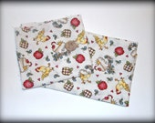 Cute Kitsch Country Farm Chicken and Apples Fabric Remnants