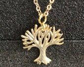 GN 29 - Leafless Tree Pendant Matte Gold Necklace