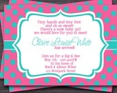 Polka dot Sip and See, Baby Shower, Baby Sprinkle Invitation -- Custom colors -- You Print