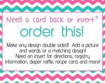 Custom card back or insert design