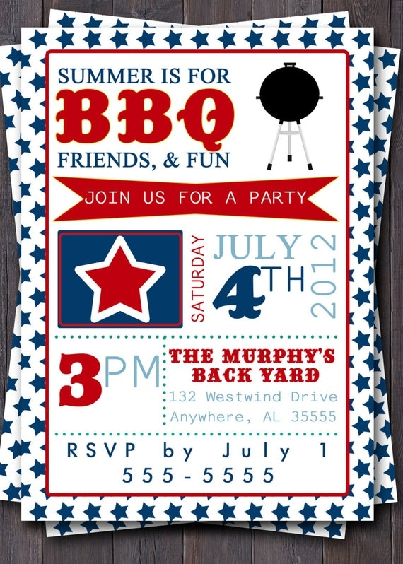 4th of July Typography Invitation.  Stars, Red, White, & Blue.  BBQ, Picnic, Party, Cookout, Pool Party