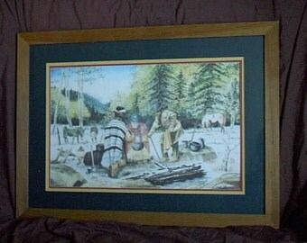 EARLY SNOW, a Mountain Man scene by Jim Wenzel