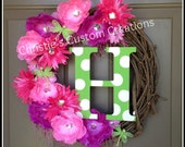 """18 """" Personalized Monogram Initial Wreath with hot pink flowers and green polka dot initial. Great for Spring or Summer."""