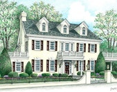 Custom Home Portrait by Joseph A. Galantino, Full Color 5 x 7 Prismacolor & Watercolor Painting from your photos - One of a kind