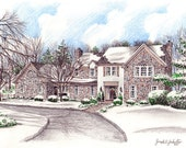 Custom Home Portrait-99&up 8x10 Full Color Original Your My Home Sketch Drawing Christmas Birthday First Home Anniv Wedd Closing Gifts