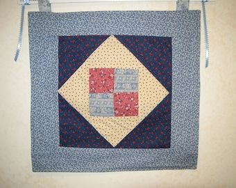 Calico Blue 4-patch quilt wall hanging