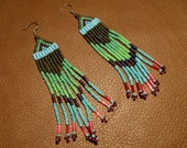 Hippie Green, blue, purple and red native american style beaded chandelier earrings