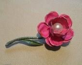 Vintage bright pink enamel flower brooch