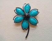 Vintage teal and black flower enamel brooch