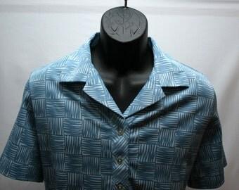 Men's Retro Short Sleeve Shirt Baby Blue Size Large