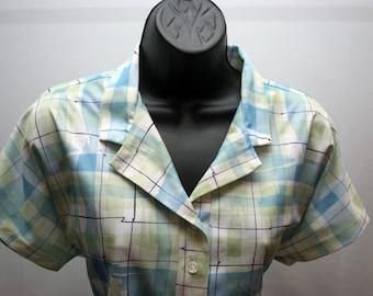 Retro Women's Green and Blue Short Sleeve Shirt Plaid