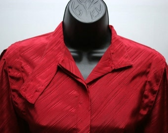 Vintage Blouse Red with Button Up Neck Line