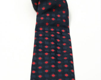 Vintage Men's Polka Dot Necktie Red and Navy Blue