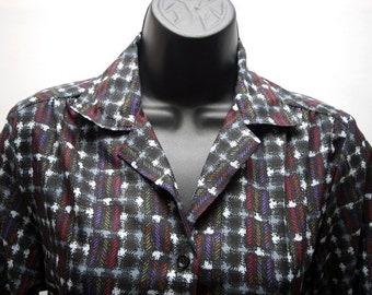 Vintage Women's Grey Black White Red Disco Shirt V-Neck
