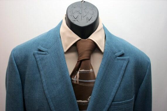 Vintage Men's Jacket Blue Double Breasted Size 42