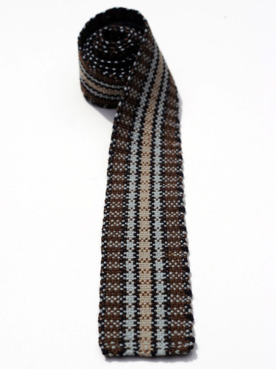 Retro Men's Skinny Flat Bottom Knit Necktie Brown, Beige, and Grey