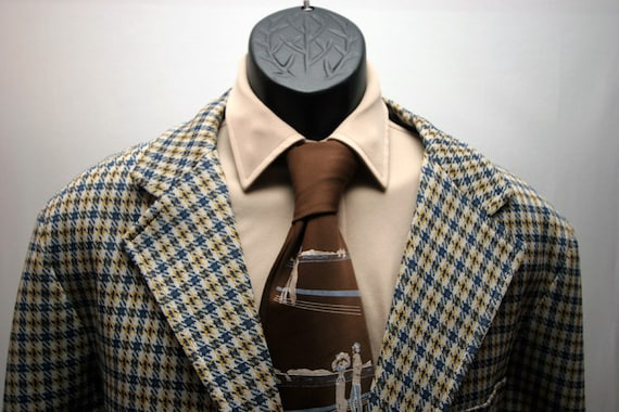 Vintage Men's Jacket Plaid Blazer Blue and Yellow 2 Button Size 44 Sports Coat