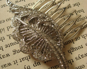 Feather Swarovski rhinestones crystals wedding bridal bridesmaids flower girls hair comb, rhinestones comb, crystals comb, bridal jewelry
