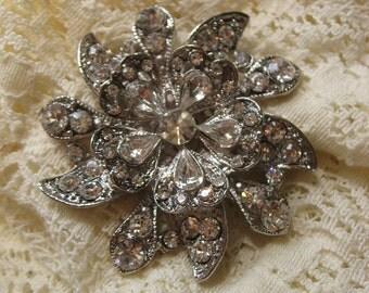 Sky flower wedding bridal rhinestone crystals brooch pin