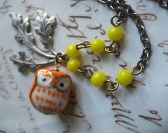 SALE - Porceline owl and nature leaf charm pendant necklace