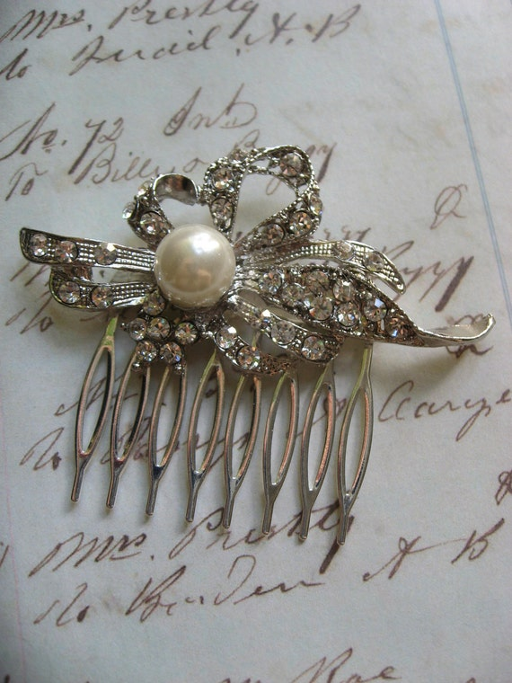 Perfume Swarovski perals and sparkle rhinestones crystals wedding bridal hair comb