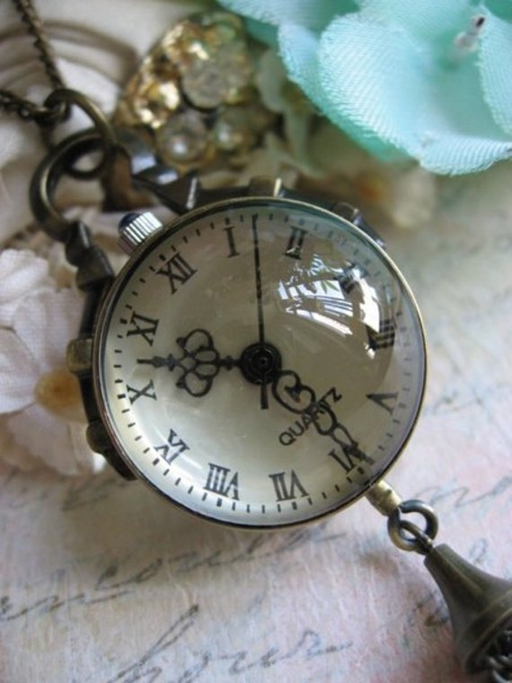 Antique brass magnifying glass watch necklace