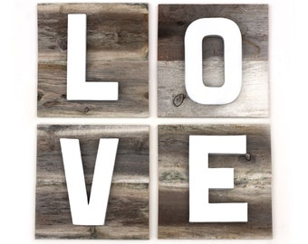 LOVE Sign on Reclaimed Wood with Dimensional Painted Letters
