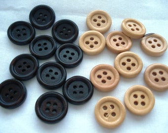15mm Wood Buttons Dark and Light Wood Buttons Pack of 20 Plain Wood Buttons