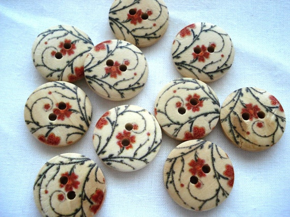 18mm Wood Buttons with Red Flower Black Tendril Print Pack of 12 Wood Buttons W1817