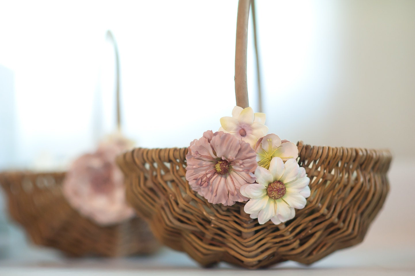 Rustic Flower Girl Basket For Wedding Pale Pink By Shescraftyyall