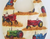 FARMING TRACTOR BIB,  Baby Bib for Toddlers, Teethers and Droolers, 100% Cotton Tractor Farming Print