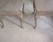 SOLD****Chalk painted Coco Queen Anne Style End/Night Tables