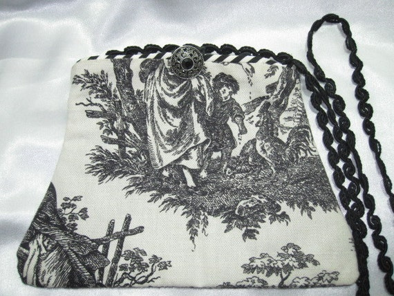 Toile Purse Black and White Hand Bag Vintage Pattern Button