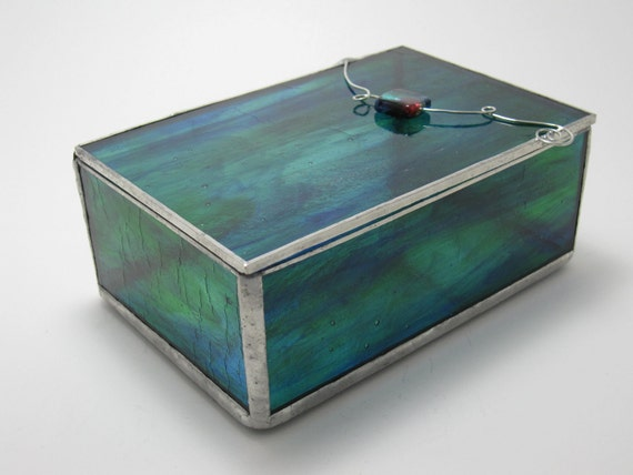 Blue/Green Streaked Stained Glass Box, 4x6 (Made to Order)