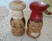 Vintage Royalty Japan Salty Peppy Wood Salt Pepper Shakers