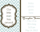 PRINTABLE New Baby Birth Announcement - Choose your colors