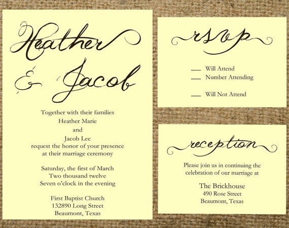 Items Similar To PRINTABLE Script Wedding Invitation Set