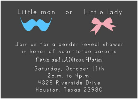 PRINTABLE Little Man or Little Lady Miss Gender Reveal Party – Baby Gender Reveal Party Invitation Wording