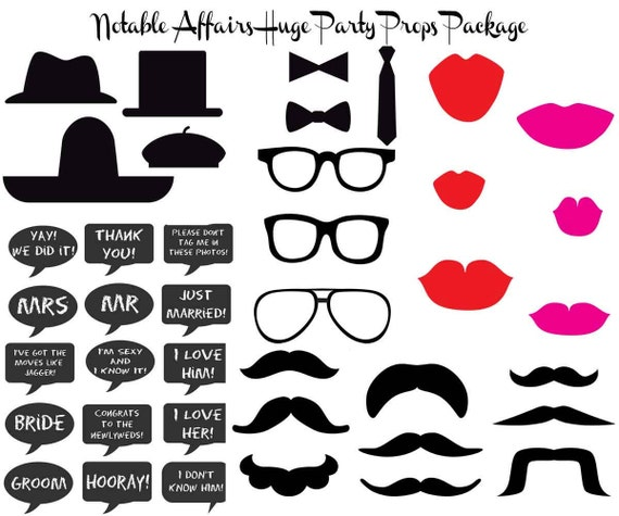 INSTANT DOWNLOAD 42 Mustaches Lips Chalkboards Glasses -For photobooths photo booths faux-to-booths Party Props Pack Shower Birthday Wedding